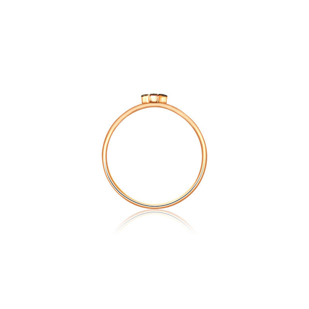 18k Gold Tetris T-Block Diamond Ring With Rose Gold - Genevieve Collection