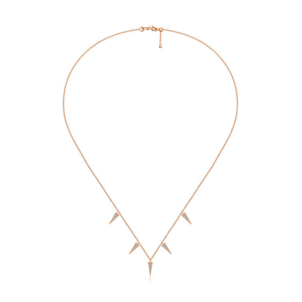 18k Gold Pointed Triangle Shape Diamond Necklace / Choker