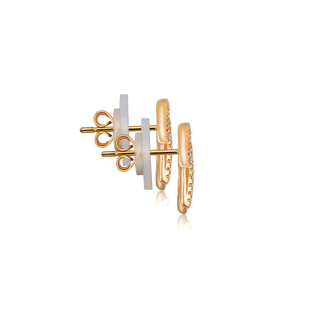 18k Gold Hollow Leaf Shape Diamond Earring - Genevieve Collection