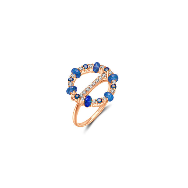 18k Gold 2 ways Beaded Sapphire and Diamond Ring