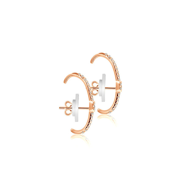 18k Gold Round Pattern Half Hoop Diamond Earring - Genevieve Collection
