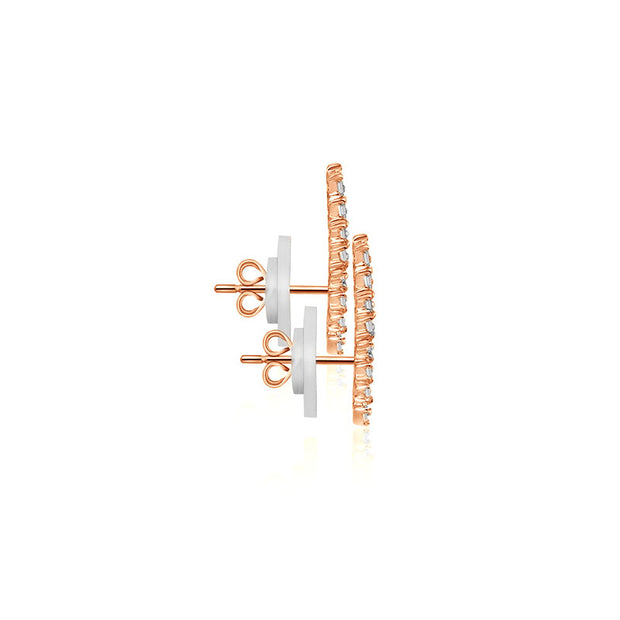18k Gold Arrow Shape with Rectangle Diamond Earring - Genevieve Collection
