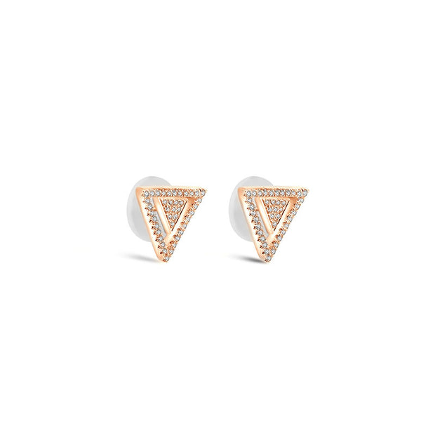 18k Gold 2 way Triangle Shape Diamond Earring - Genevieve Collection
