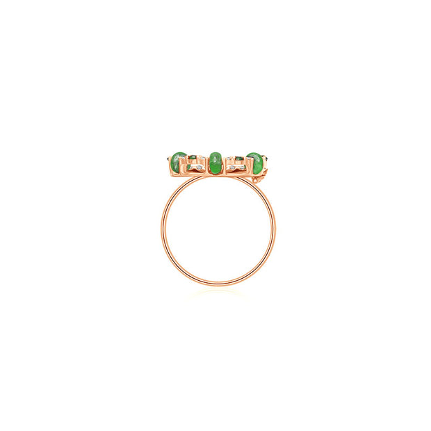 18k Gold 2 ways Beaded Emerald and Diamond Ring