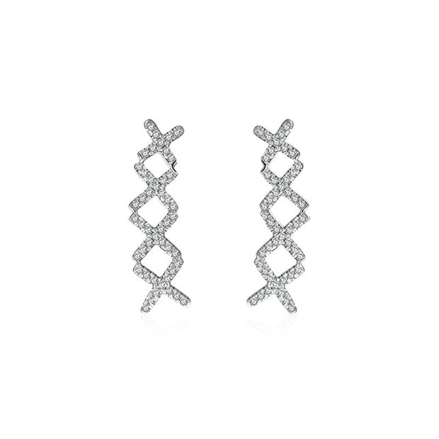 18k Gold Quadruple Cross Diamond Earring - Genevieve Collection