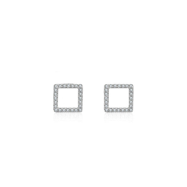 18k Gold Hollow Square Diamond Earring - Genevieve Collection