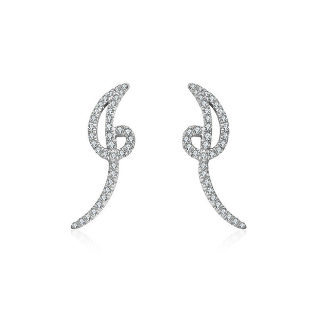 "18k Gold Script Letter ""I"" Diamond Earring - Genevieve Collection"