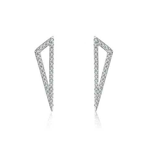 Hollow Triangle Diamond Earring