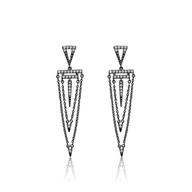 18k Gold Black Double Chain Diamond Earring - Genevieve Collection