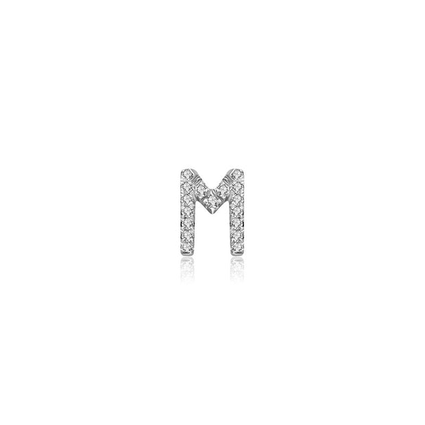 "18k Gold Initial Letter ""M"" Diamond Pandent + Necklace - Genevieve Collection"