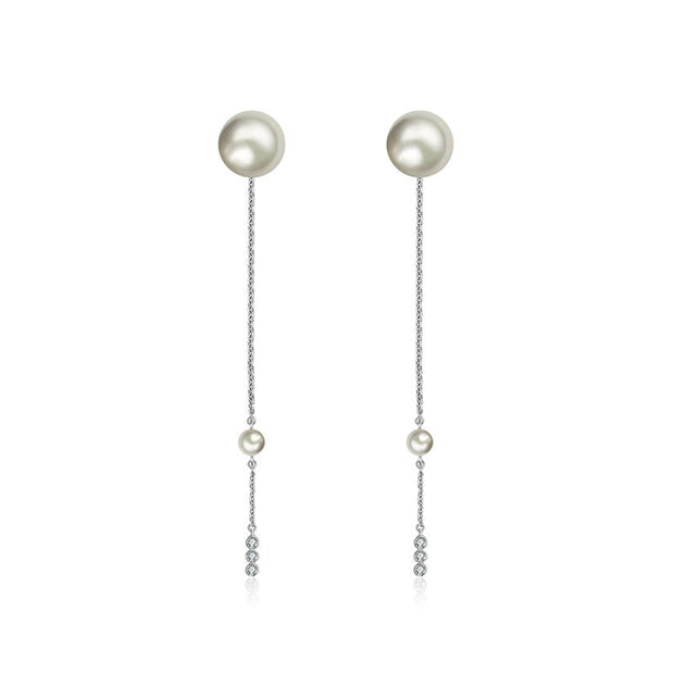 18k Gold Chain Diamond Earring With Pearl - Genevieve Collection