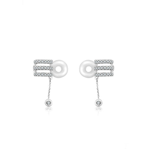 Triple Curve Dangling Diamond Ear Cuff