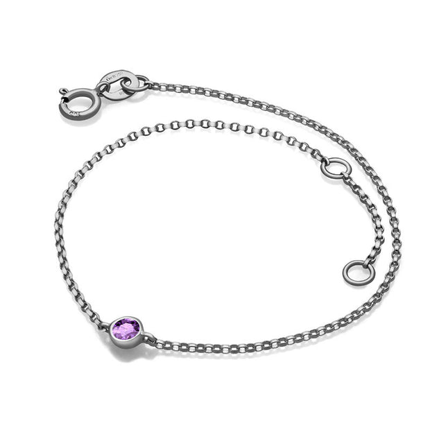 18k Gold June Birth Stone Light Amethyst Bracelet - Genevieve Collection