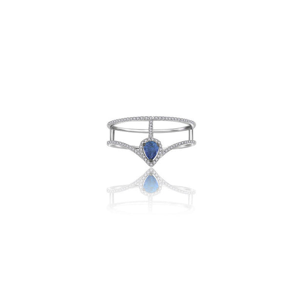 18k Gold Curve Diamond Double Ring with Drop Shape Sapphire - Genevieve Collection