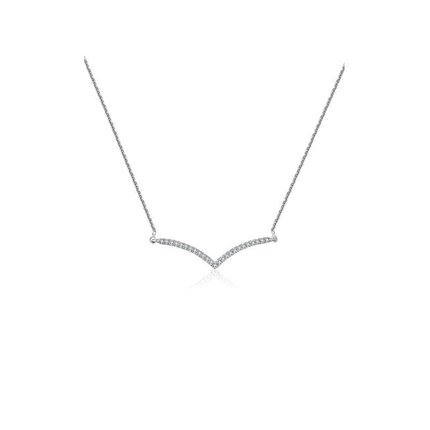 18k Gold Double Curve Diamond Necklace - Genevieve Collection