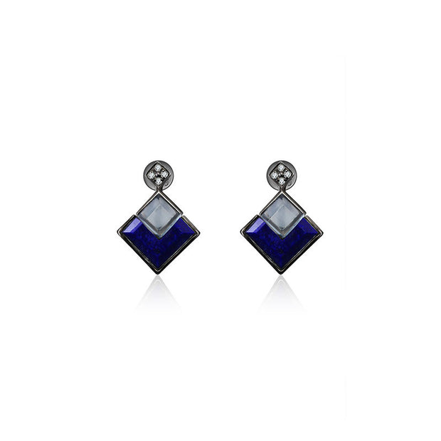 18k Gold Square Shape Topaz And Lapis Diamond Earring - Genevieve Collection