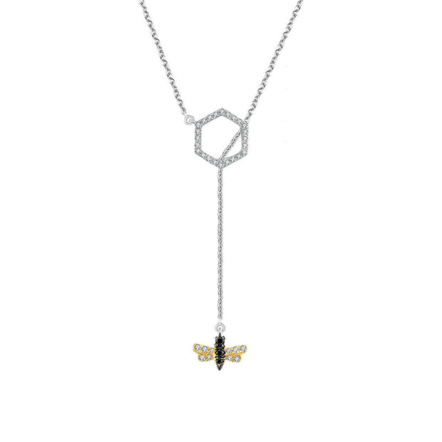 18k Gold Bee Shape Adjustable Diamond Necklace