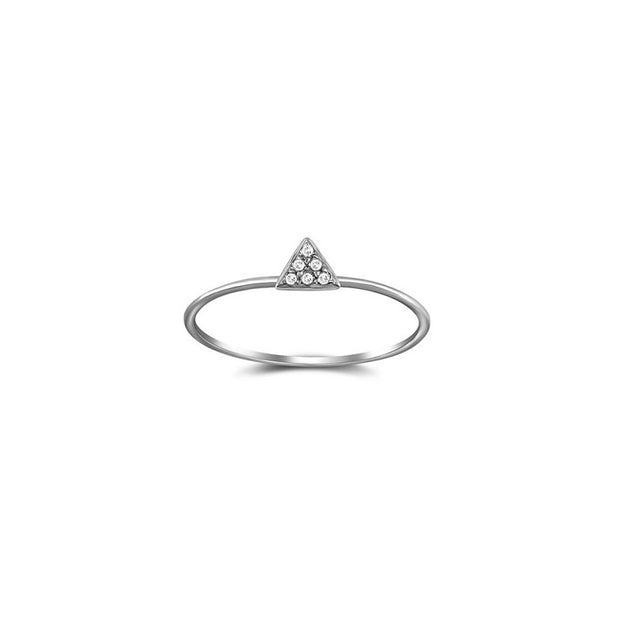 18k Gold Small Triangle Shape Pave Diamond Ring