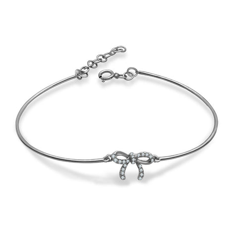 Diamond Ribbon Bow Bangle