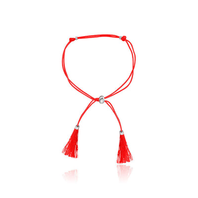 18k Gold Red Tassel Bracelet with Gold Beads - Genevieve Collection