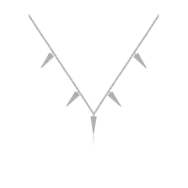 18k Gold Pointed Triangle Shape Diamond Necklace / Choker - Genevieve Collection