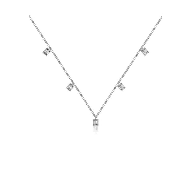 18k Gold Square Shape Diamond Necklace / Choker - Genevieve Collection