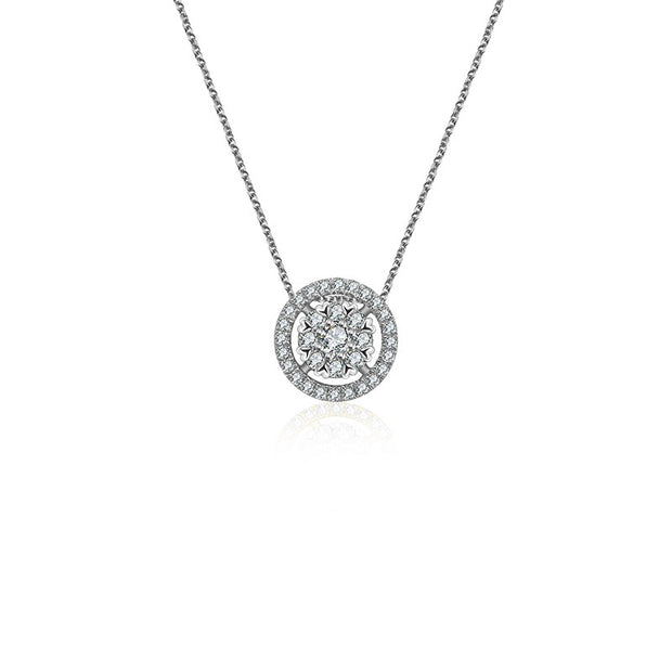 18k Gold Eight hearts Diamond Necklace - Genevieve Collection