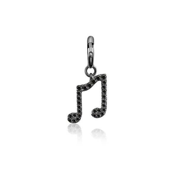 18k Gold Double Eighth Note Sign Black Diamond Charms - Genevieve Collection