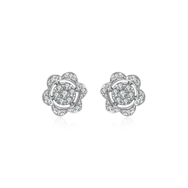 18k Gold Flower Shape Diamond Earring - Genevieve Collection