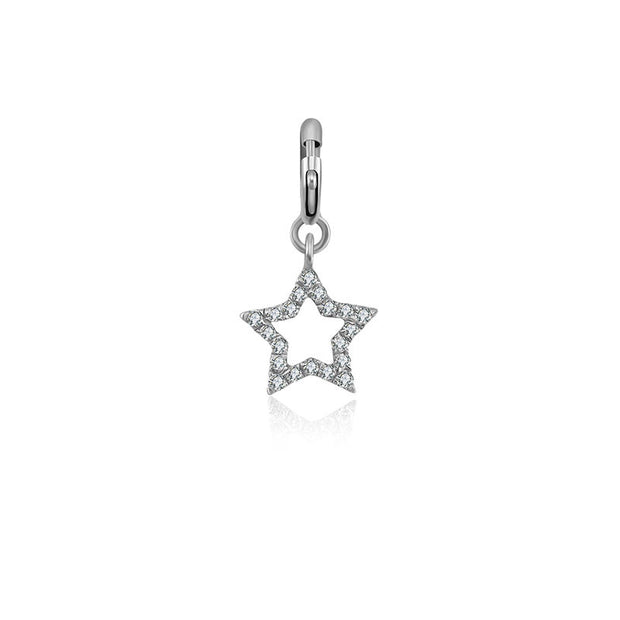 18k Gold Hollow Star Shape Diamond Charms - Genevieve Collection