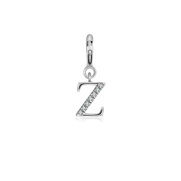 "18k Gold Letter ""Z"" Diamond Charms - Genevieve Collection"