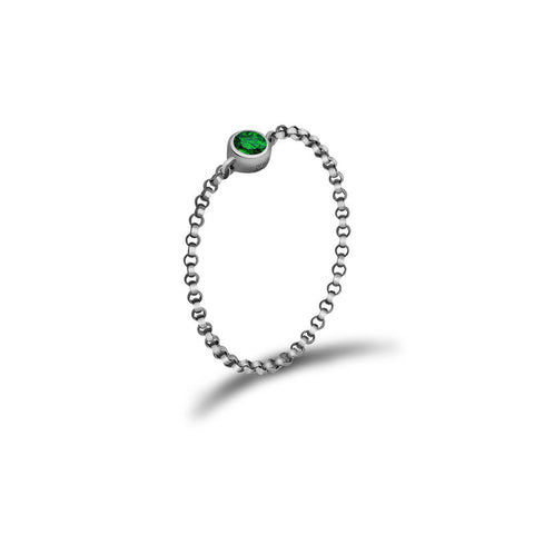 May Birth Stone Emerald Chain Ring