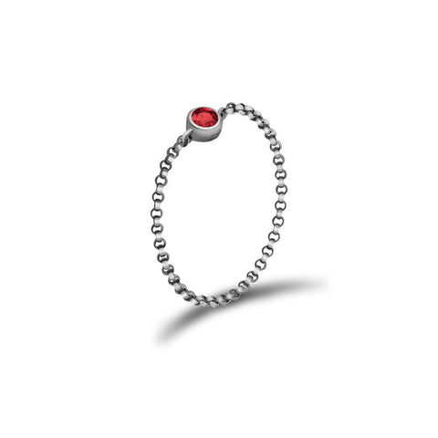 July Birth Stone Ruby Chain Ring