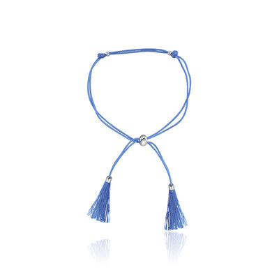 18k Gold Blue Tassel Bracelet with Gold Beads - Genevieve Collection
