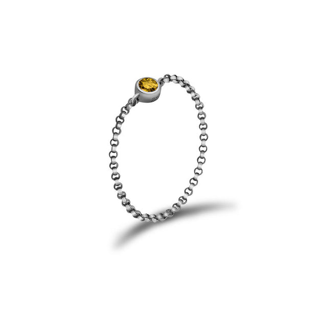 18k Gold November Birth Stone Citrine Chain Ring - Genevieve Collection