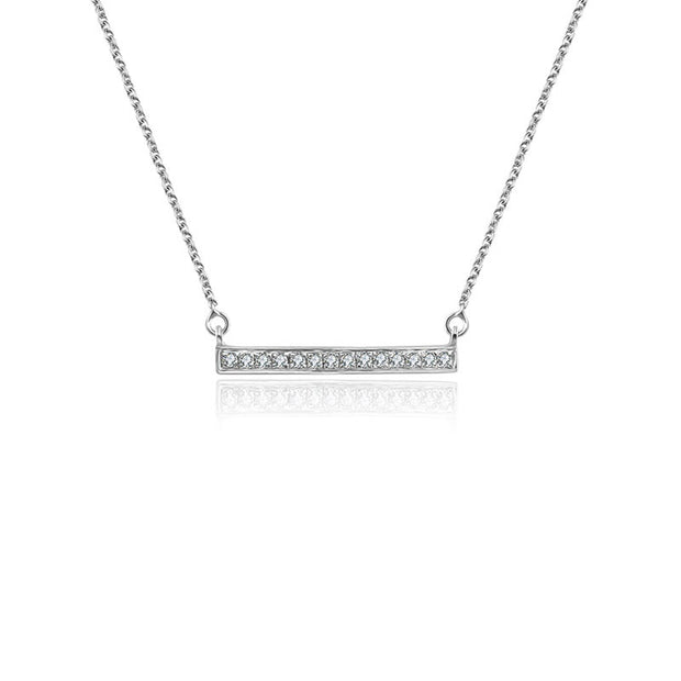 18k Gold Rectangle Diamond Necklace - Genevieve Collection