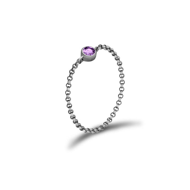 18k Gold June Birthstone Light Amethyst Chain Ring - Genevieve Collection