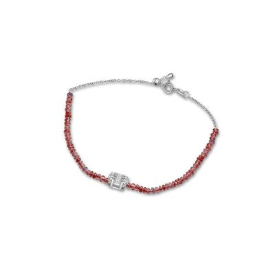 18k Gold Ruby Beaded with Square Shape Diamond Bracelet - Genevieve Collection