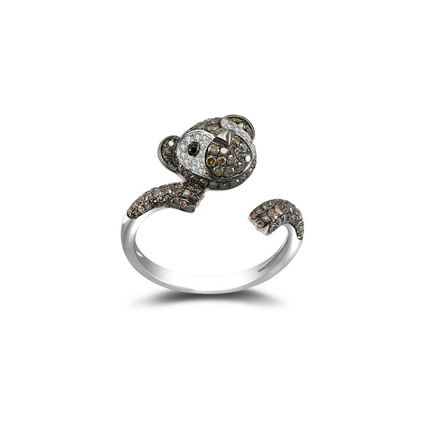18k Gold Bear Shape Diamond Open Ring - Genevieve Collection