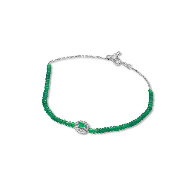 18k Gold Emerald Beaded Diamond Bracelet - Genevieve Collection