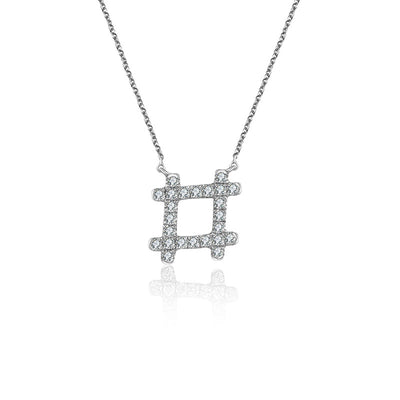 18k Gold Hashtag Shape Diamond Necklace - Genevieve Collection