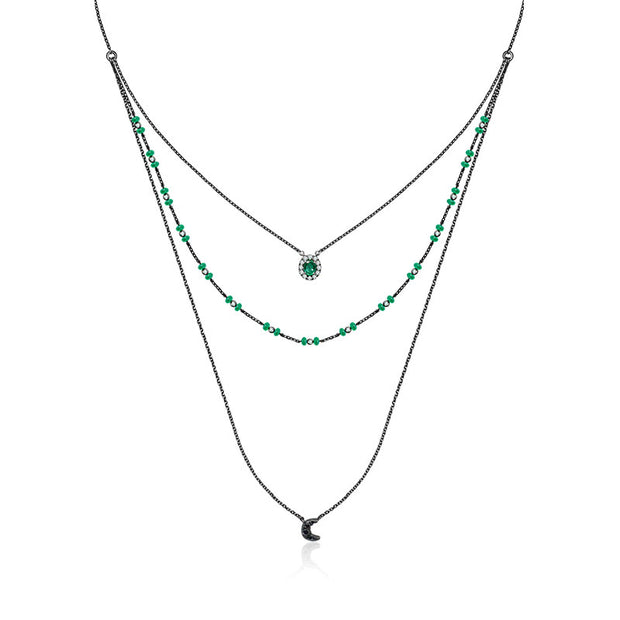 18k Gold 3 layers Stack Diamond Necklaces with Emerald bead