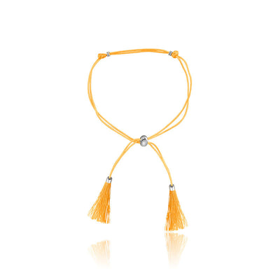 18k Gold Yellow Tassel Bracelet with Gold Beads - Genevieve Collection
