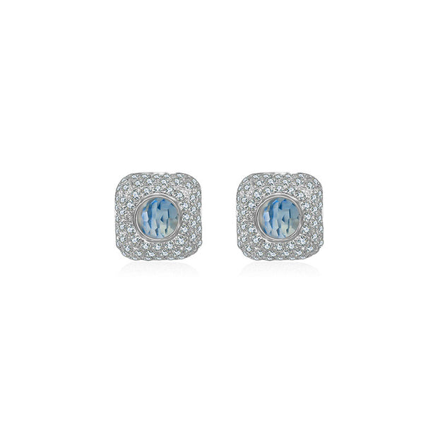 18k Gold Hollow Cube Diamond Earring With Topaz - Genevieve Collection