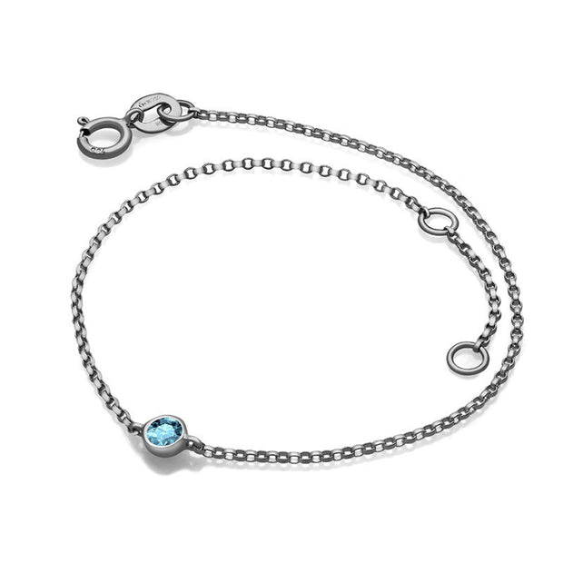 18k Gold March Birthstone Aquamarine Bracelet - Genevieve Collection