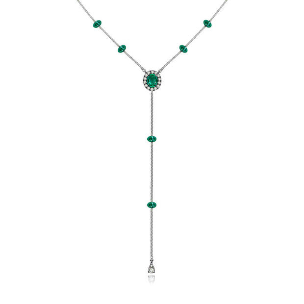 18k Gold By the Yard Emerald Dangle Necklace