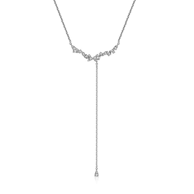 18k Gold irregular Shape Dangling Diamond Necklace - Genevieve Collection