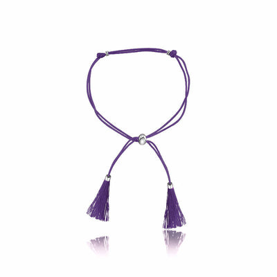 18k Gold Purple Tassel Bracelet with Gold Beads - Genevieve Collection