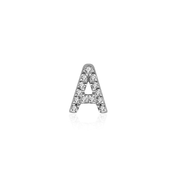 "18k Gold Initial Letter ""A"" Diamond Pandent + Necklace - Genevieve Collection"