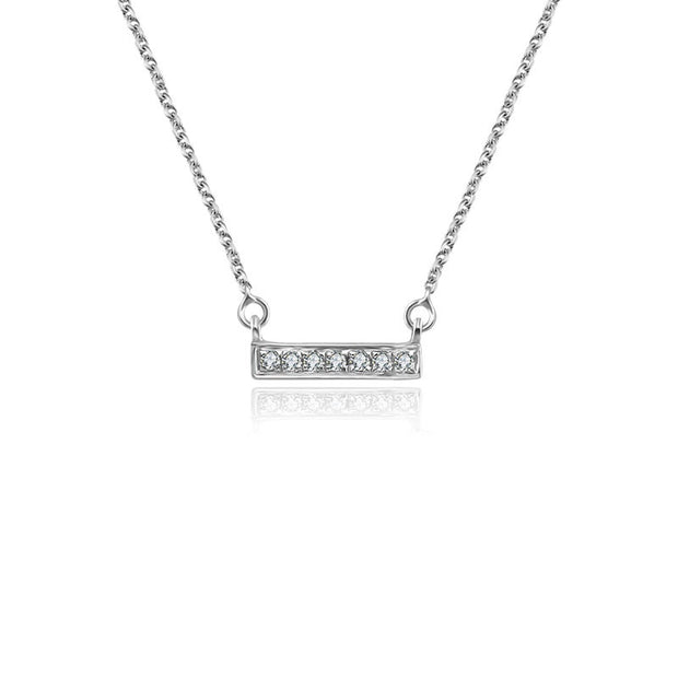 18k Gold Mini Rectangle Diamond Necklace - Genevieve Collection